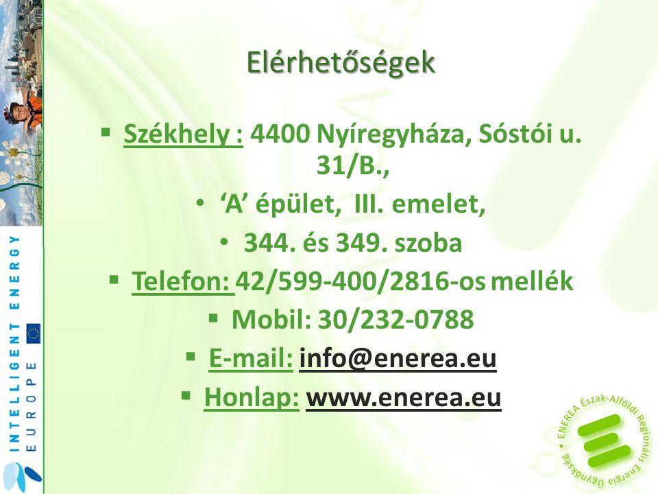 Elérhetőségek Székhely : 4400 Nyíregyháza, Sóstói u. 31/B.,