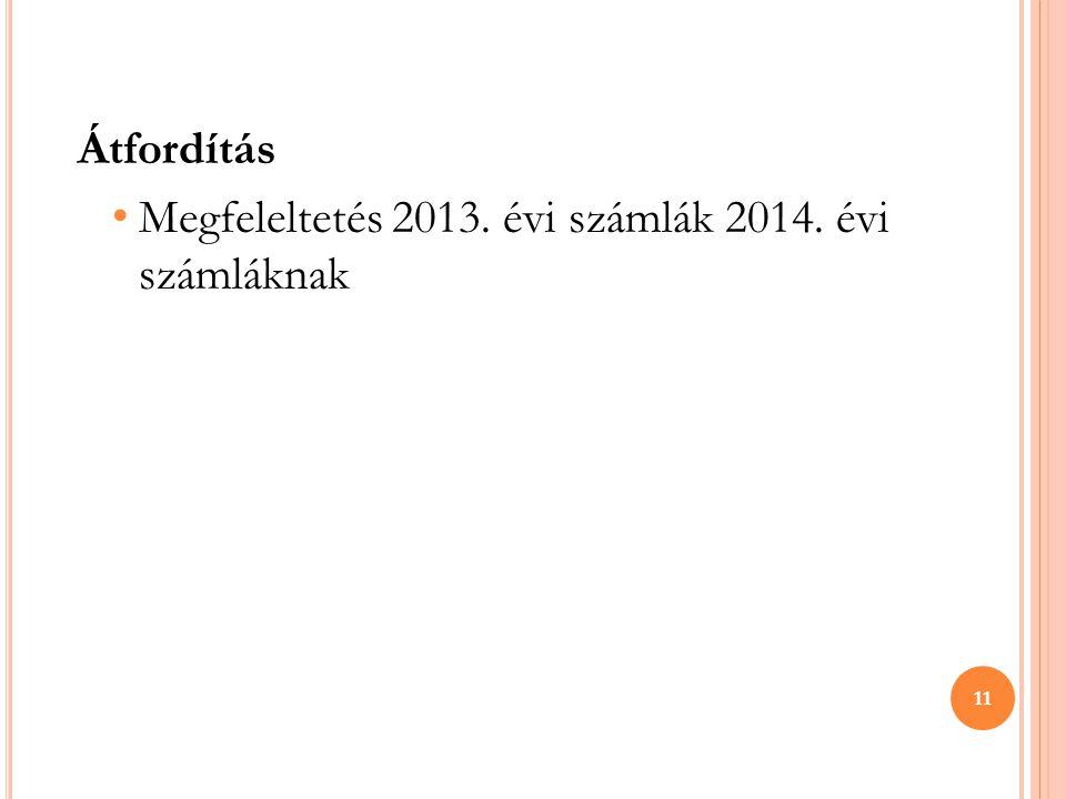 Átfordítás Megfeleltetés 2013. évi számlák 2014. évi számláknak