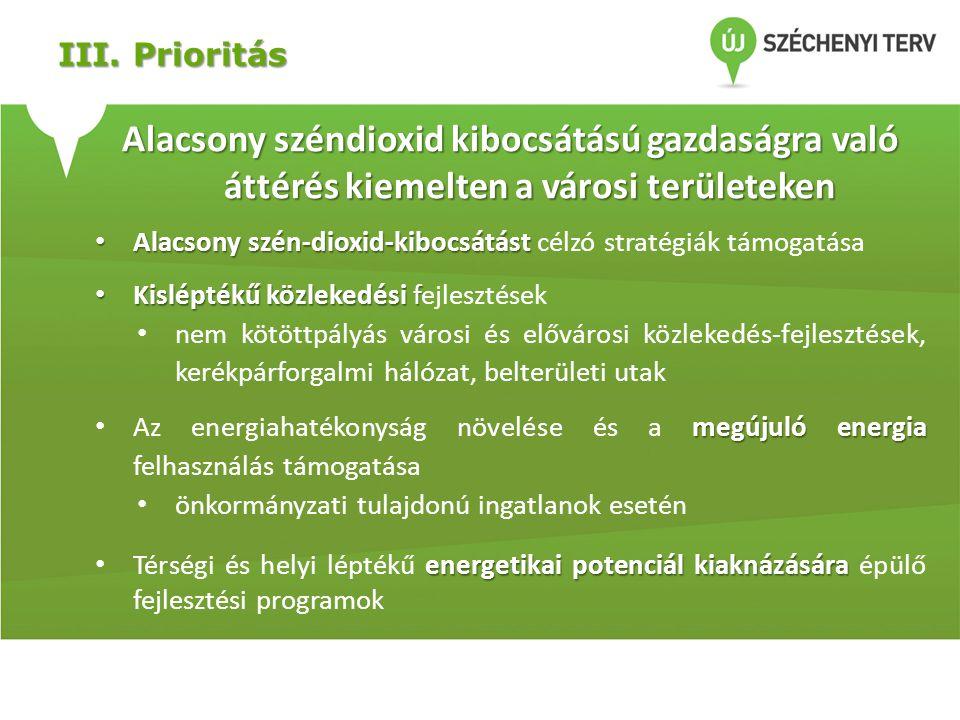 III. Prioritás Alacsony széndioxid kibocsátású gazdaságra való áttérés kiemelten a városi területeken.