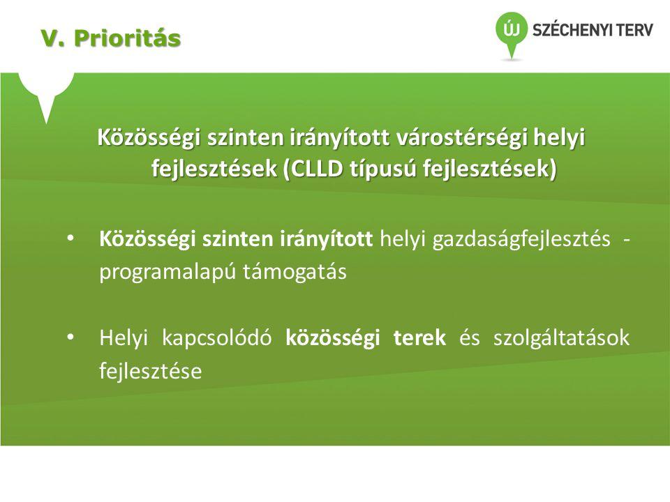 V. Prioritás Közösségi szinten irányított várostérségi helyi fejlesztések (CLLD típusú fejlesztések)