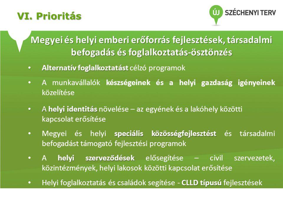 VI. Prioritás Megyei és helyi emberi erőforrás fejlesztések, társadalmi befogadás és foglalkoztatás-ösztönzés.