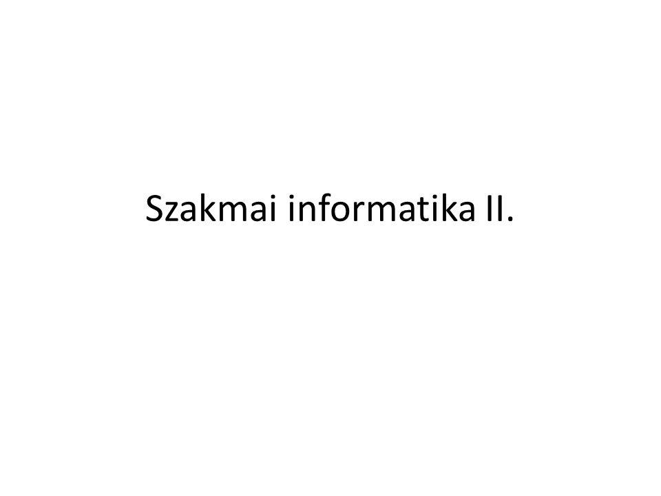 Szakmai informatika II.