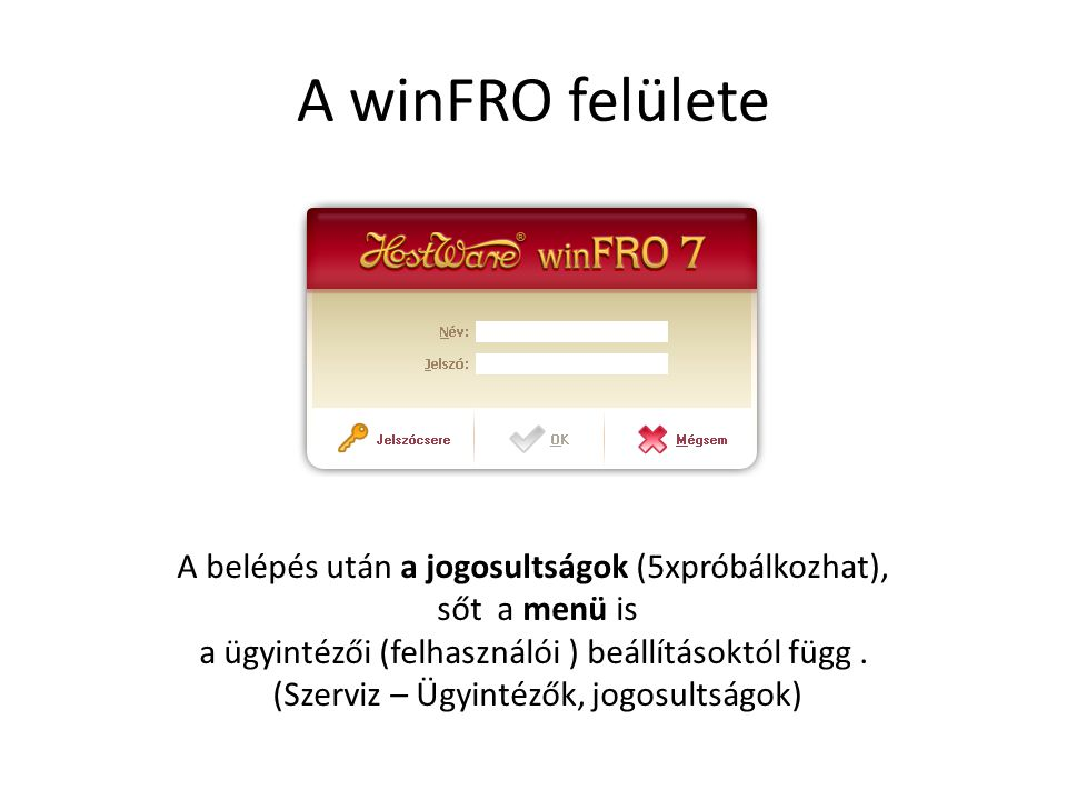 A winFRO felülete