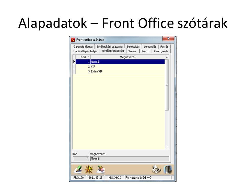 Alapadatok – Front Office szótárak