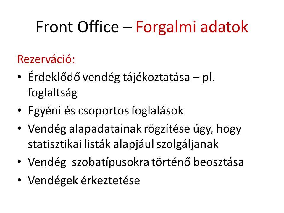 Front Office – Forgalmi adatok