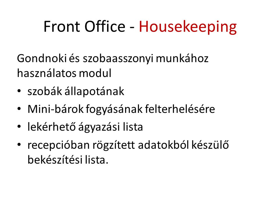 Front Office - Housekeeping