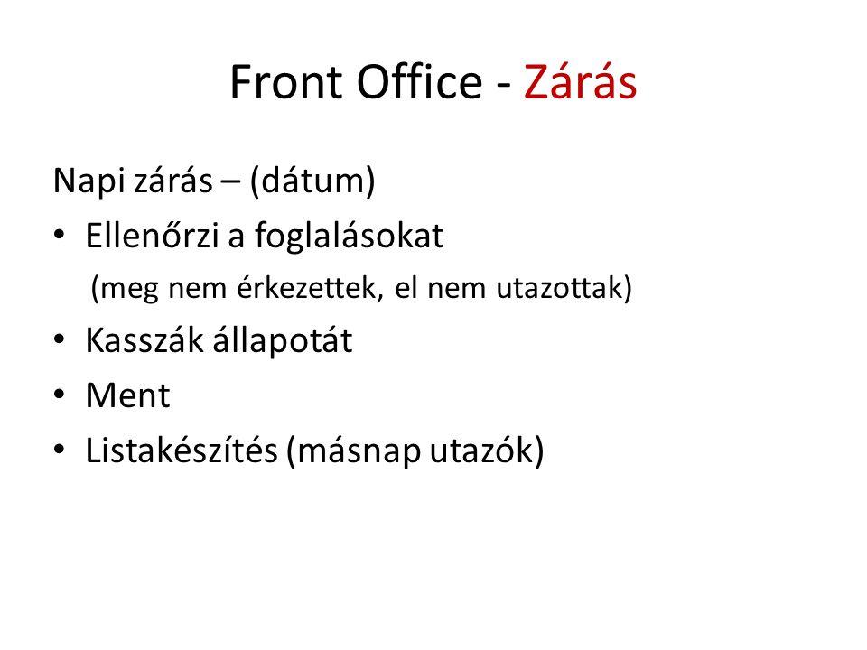 Front Office - Zárás Napi zárás – (dátum) Ellenőrzi a foglalásokat