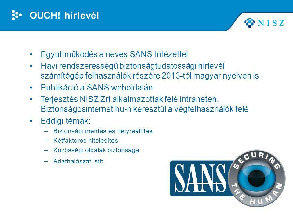 OUCH! hírlevél Együttműködés a neves SANS Intézettel