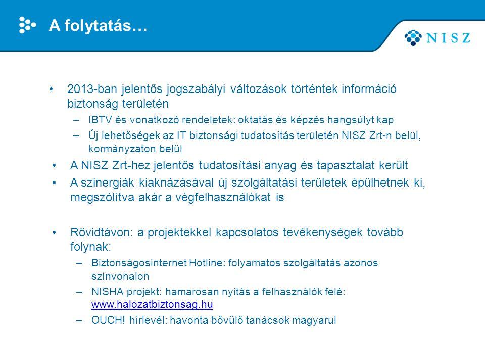 A folytatás… 2013-ban jelentős jogszabályi változások történtek információ biztonság területén.