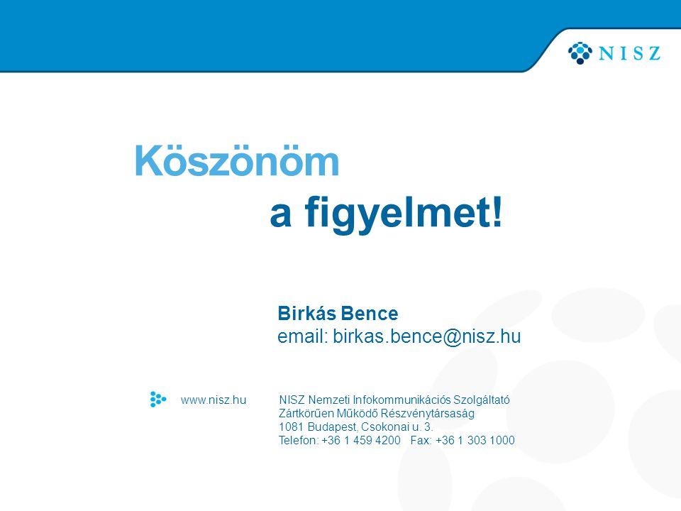 Köszönöm a figyelmet! Birkás Bence email: birkas.bence@nisz.hu