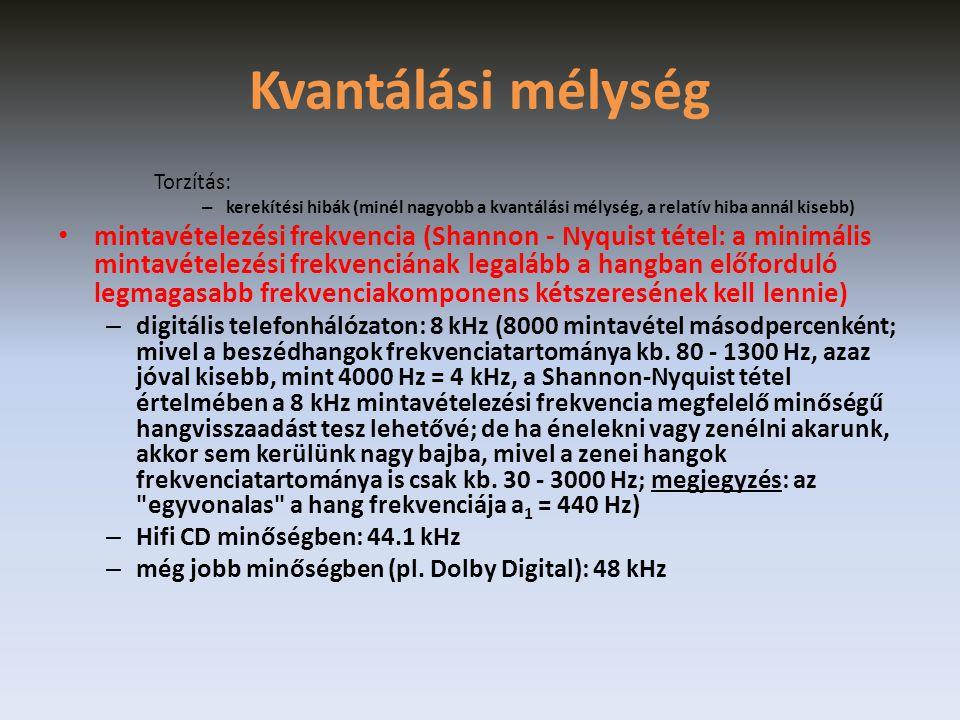 Kvantálási mélység Torzítás: kerekítési hibák (minél nagyobb a kvantálási mélység, a relatív hiba annál kisebb)