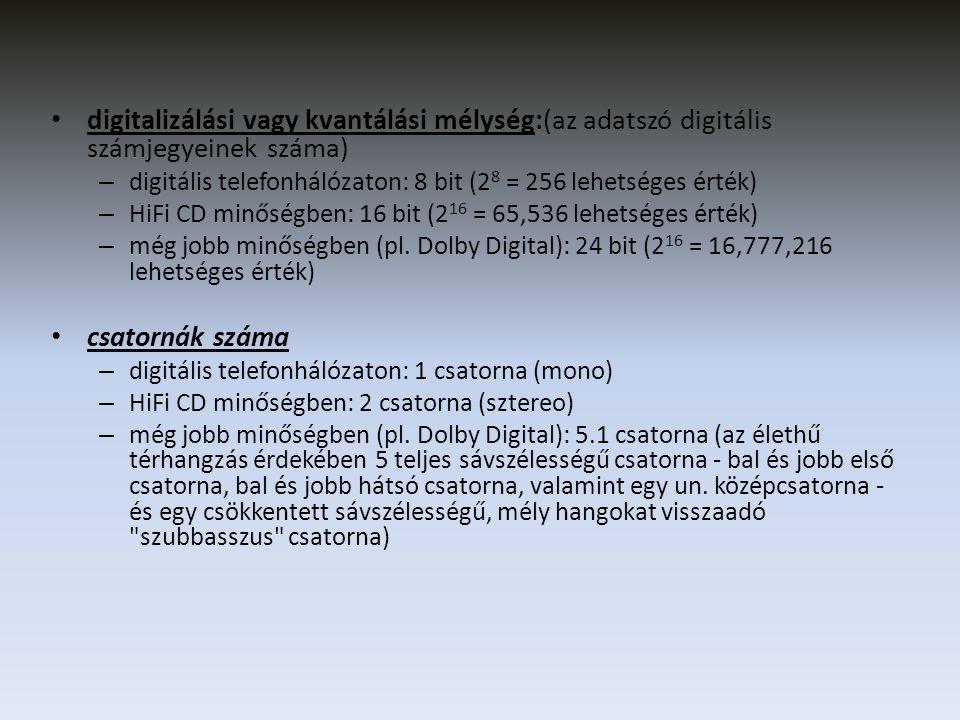 digitalizálási vagy kvantálási mélység:(az adatszó digitális számjegyeinek száma)