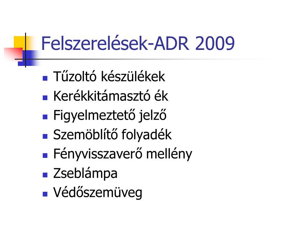 Felszerelések-ADR 2009 Tűzoltó készülékek Kerékkitámasztó ék