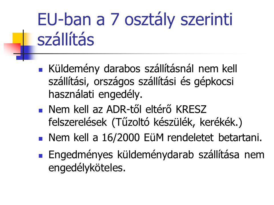 EU-ban a 7 osztály szerinti szállítás