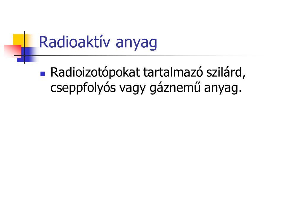 Radioaktív anyag Radioizotópokat tartalmazó szilárd, cseppfolyós vagy gáznemű anyag.