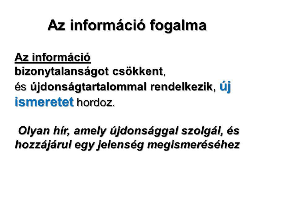 Az információ fogalma Az információ