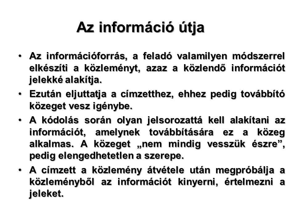 Az információ útja Az információforrás, a feladó valamilyen módszerrel elkészíti a közleményt, azaz a közlendő információt jelekké alakítja.