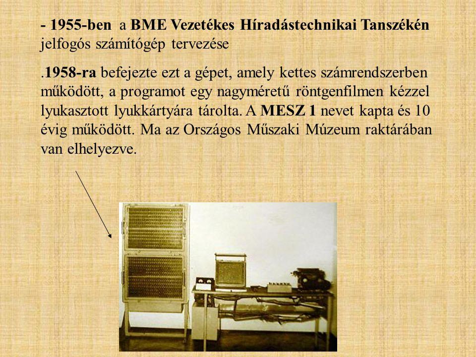 - 1955-ben a BME Vezetékes Híradástechnikai Tanszékén jelfogós számítógép tervezése
