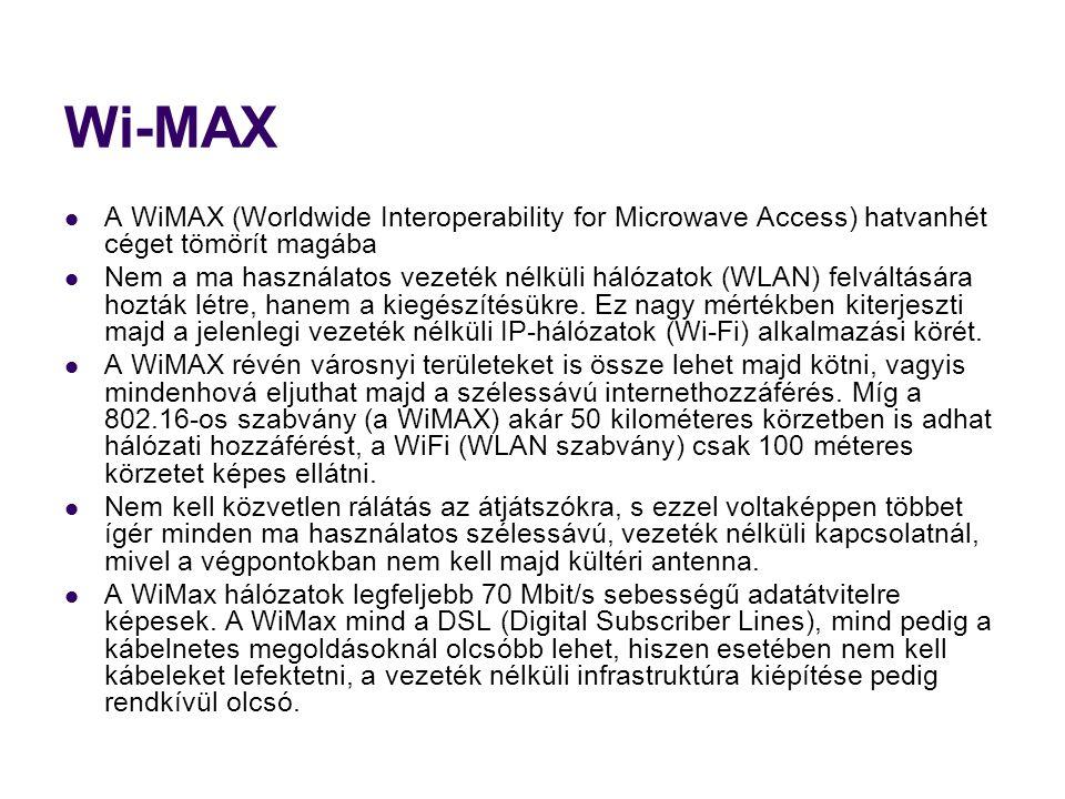 Wi-MAX A WiMAX (Worldwide Interoperability for Microwave Access) hatvanhét céget tömörít magába.