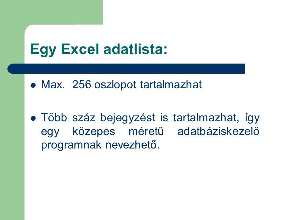 Egy Excel adatlista: Max. 256 oszlopot tartalmazhat