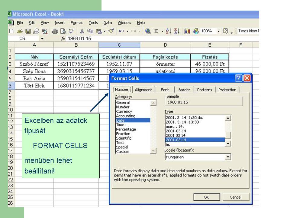 Excelben az adatok tipusát