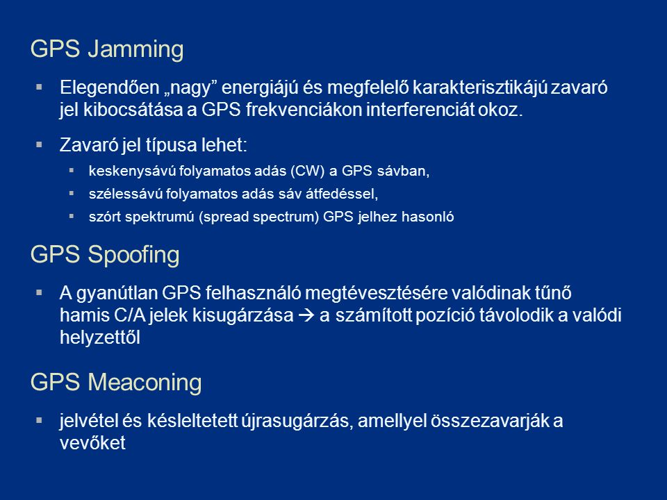GPS Jamming GPS Spoofing GPS Meaconing