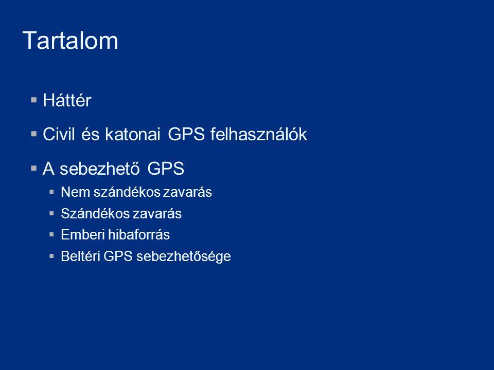 Tartalom Háttér Civil és katonai GPS felhasználók A sebezhető GPS