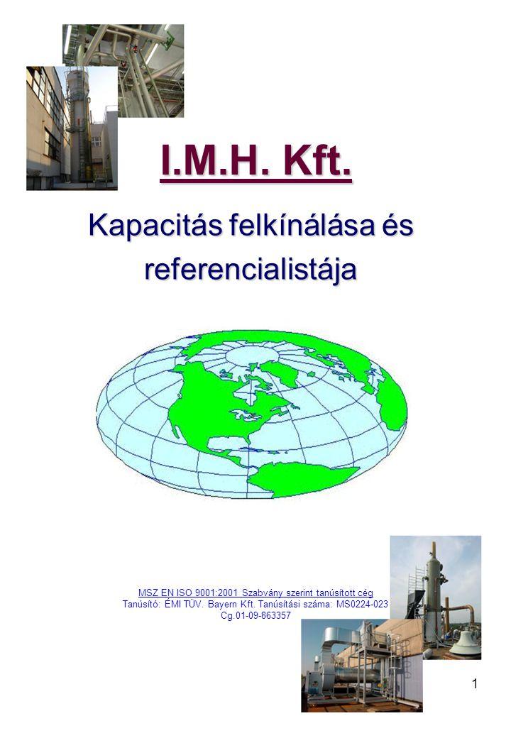 I.M.H. Kft. Kapacitás felkínálása és referencialistája