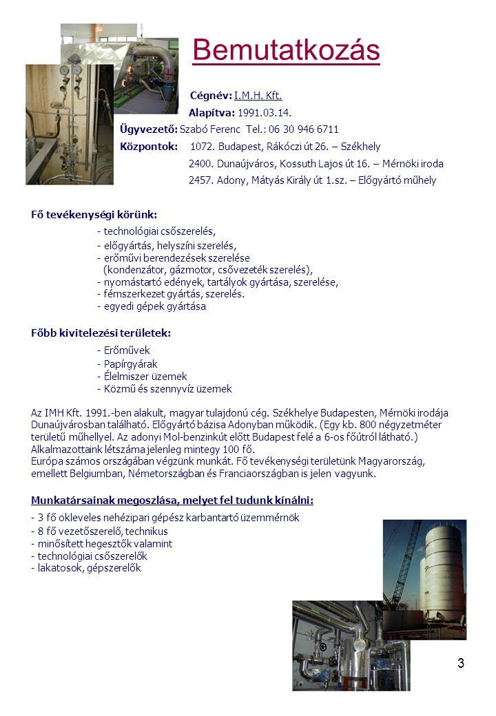 Bemutatkozás Cégnév: I.M.H. Kft. Alapítva: 1991.03.14.