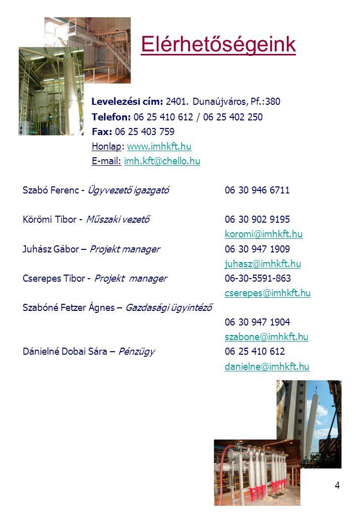 Elérhetőségeink Levelezési cím: 2401. Dunaújváros, Pf.:380