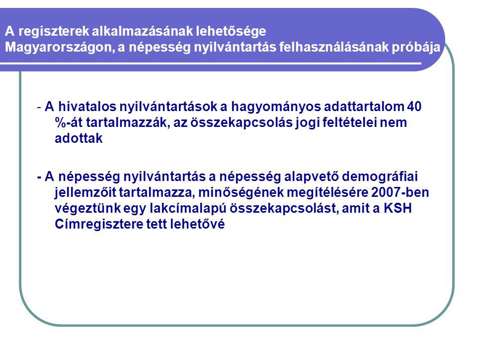 A regiszterek alkalmazásának lehetősége Magyarországon, a népesség nyilvántartás felhasználásának próbája