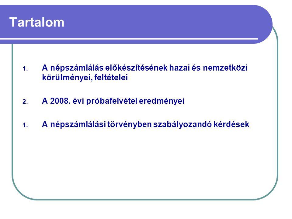 Tartalom A népszámlálás előkészítésének hazai és nemzetközi körülményei, feltételei. A 2008. évi próbafelvétel eredményei.