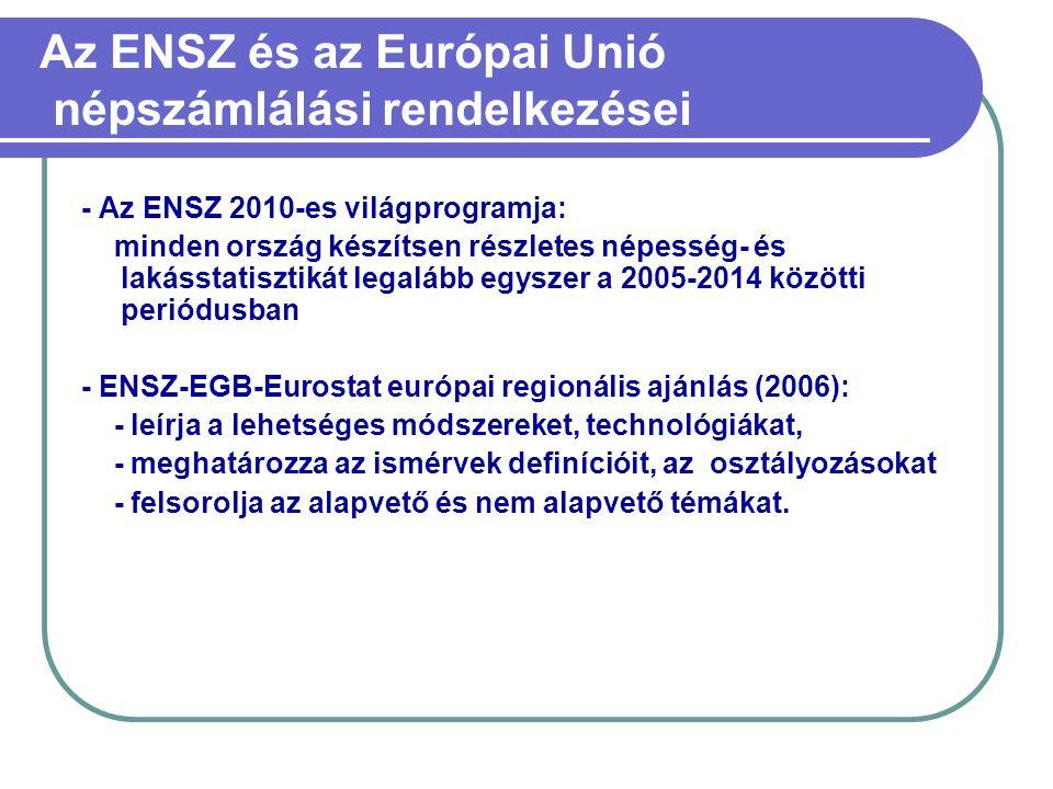 Az ENSZ és az Európai Unió népszámlálási rendelkezései