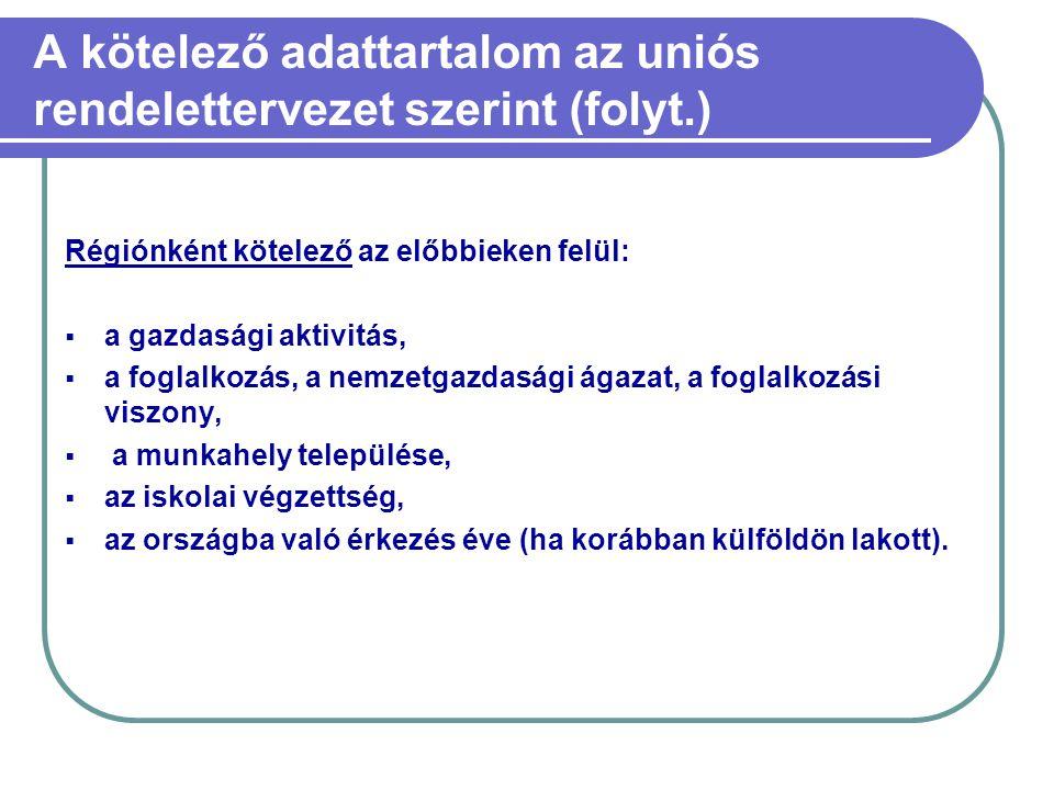 A kötelező adattartalom az uniós rendelettervezet szerint (folyt.)