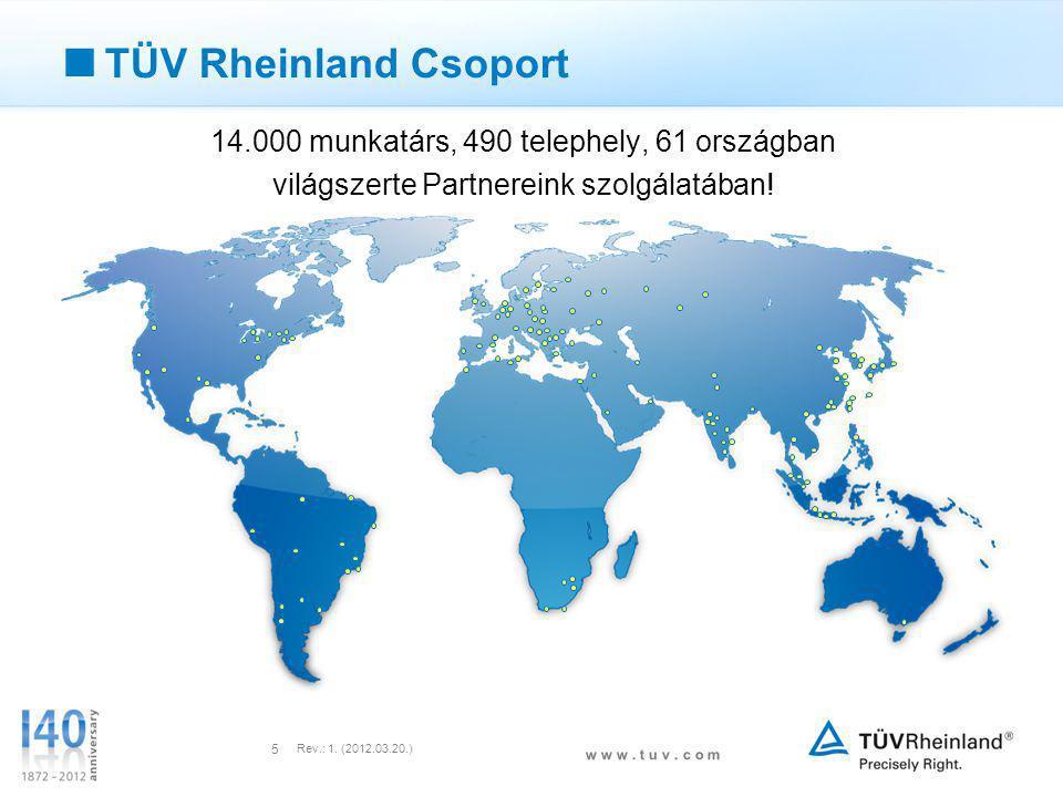 TÜV Rheinland Csoport 14.000 munkatárs, 490 telephely, 61 országban