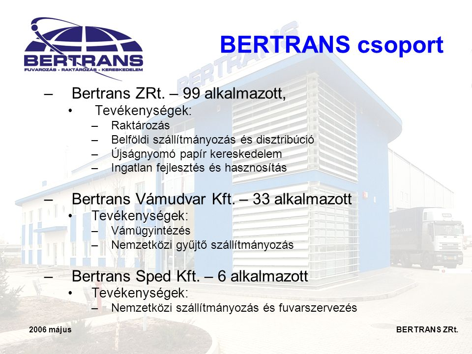 BERTRANS csoport Bertrans ZRt. – 99 alkalmazott,