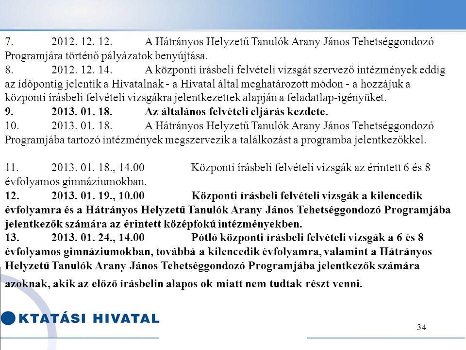 7. 2012. 12. 12. A Hátrányos Helyzetű Tanulók Arany János Tehetséggondozó Programjára történő pályázatok benyújtása.