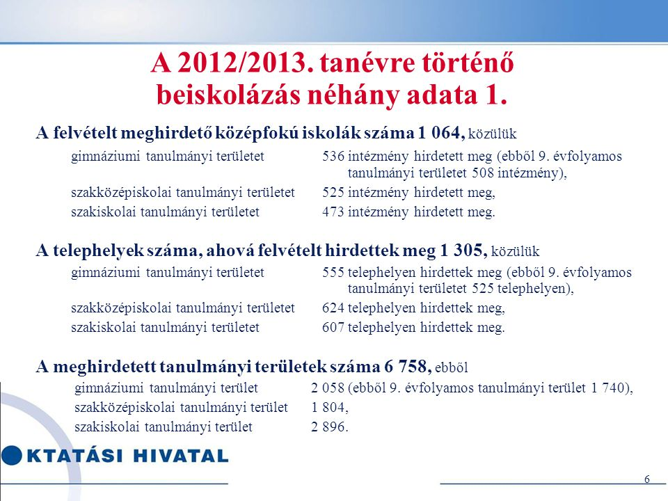 A 2012/2013. tanévre történő beiskolázás néhány adata 1.