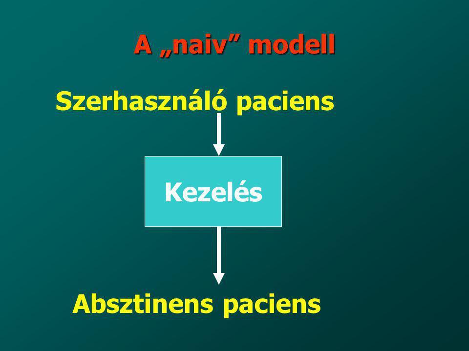 """A """"naiv modell Szerhasználó paciens Kezelés Absztinens paciens 10"""