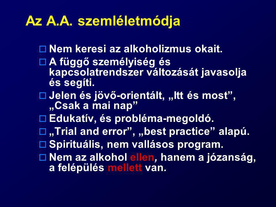 Az A.A. szemléletmódja Nem keresi az alkoholizmus okait.