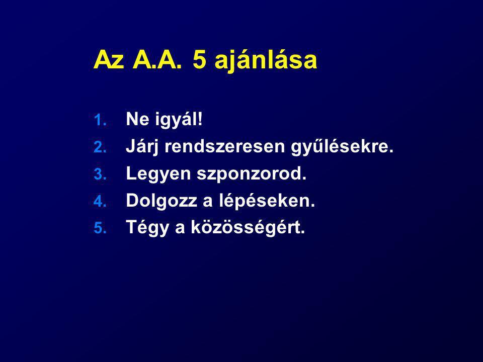Az A.A. 5 ajánlása Ne igyál! Járj rendszeresen gyűlésekre.