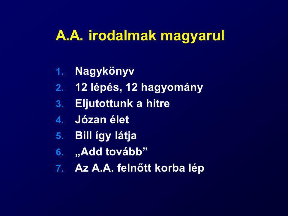 A.A. irodalmak magyarul Nagykönyv 12 lépés, 12 hagyomány