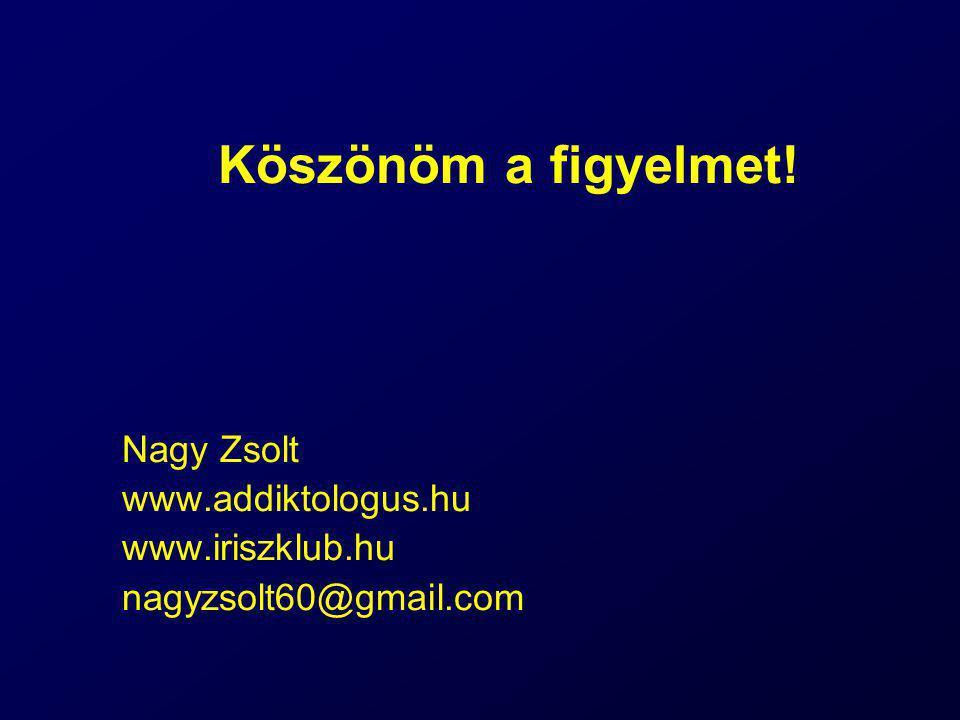 Köszönöm a figyelmet! Nagy Zsolt www.addiktologus.hu www.iriszklub.hu