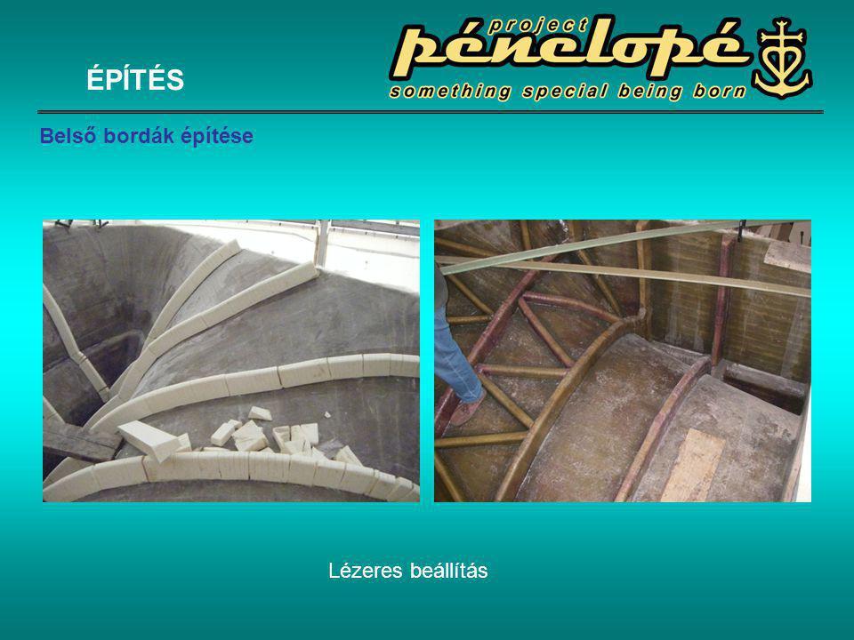 ÉPÍTÉS Belső bordák építése Lézeres beállítás
