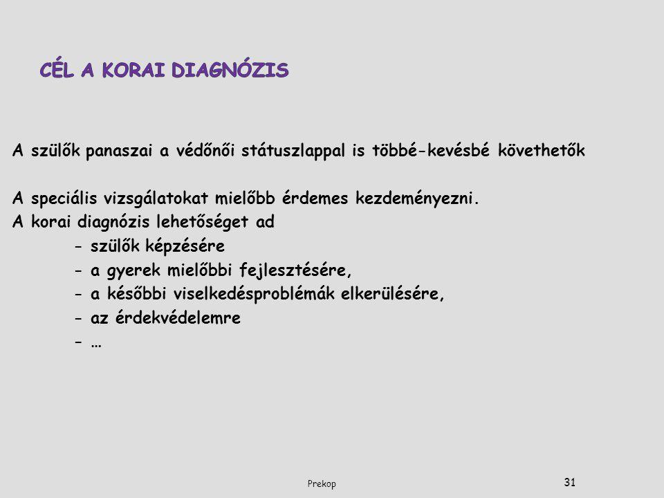 CÉL A KORAI DIAGNÓZIS