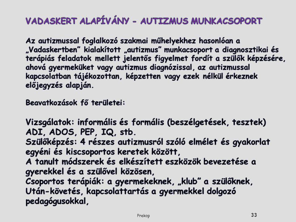 """VADASKERT ALAPÍVÁNY - AUTIZMUS MUNKACSOPORT Az autizmussal foglalkozó szakmai műhelyekhez hasonlóan a """"Vadaskertben kialakított """"autizmus munkacsoport a diagnosztikai és terápiás feladatok mellett jelentős figyelmet fordít a szülők képzésére, ahová gyermeküket vagy autizmus diagnózissal, az autizmussal kapcsolatban tájékozottan, képzetten vagy ezek nélkül érkeznek előjegyzés alapján. Beavatkozások fő területei: Vizsgálatok: informális és formális (beszélgetések, tesztek) ADI, ADOS, PEP, IQ, stb. Szülőképzés: 4 részes autizmusról szóló elmélet és gyakorlat egyéni és kiscsoportos keretek között, A tanult módszerek és elkészített eszközök bevezetése a gyerekkel és a szülővel közösen, Csoportos terápiák: a gyermekeknek, """"klub a szülőknek, Után-követés, kapcsolattartás a gyermekkel dolgozó pedagógusokkal,"""