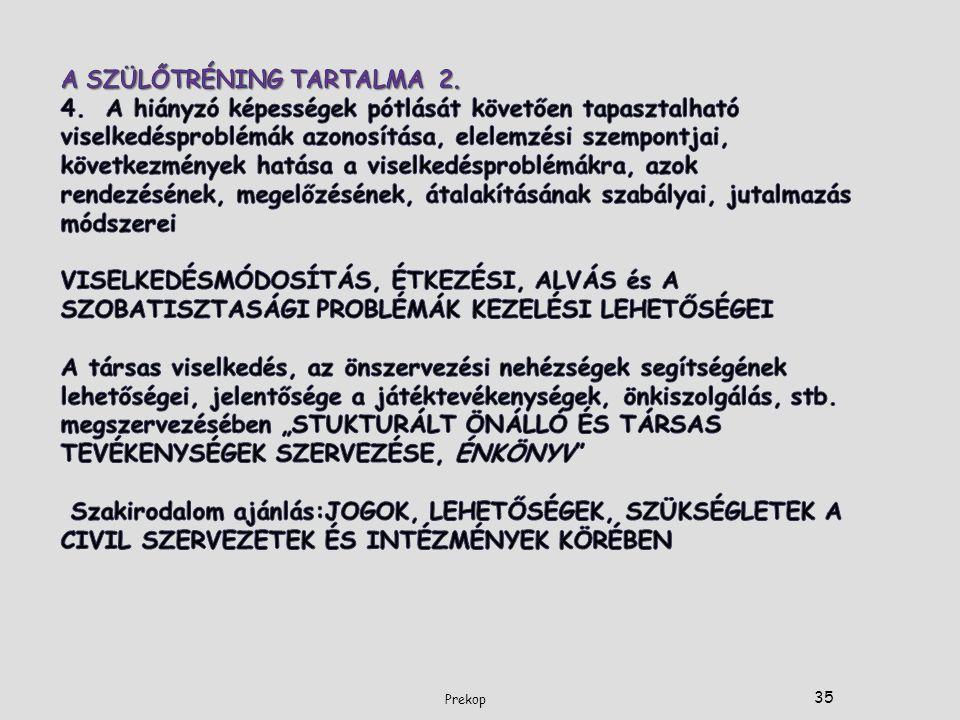 A SZÜLŐTRÉNING TARTALMA 2. 4