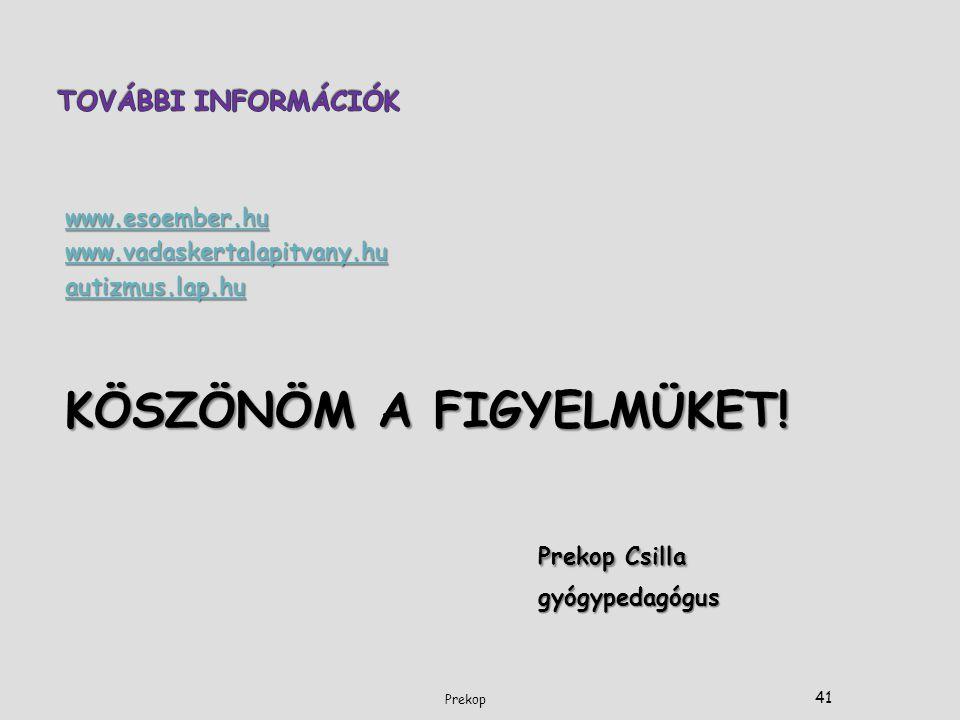 KÖSZÖNÖM A FIGYELMÜKET! Prekop Csilla