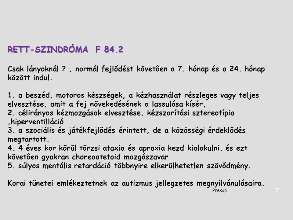 RETT-SZINDRÓMA F 84.2 Csak lányoknál , normál fejlődést követően a 7. hónap és a 24. hónap között indul.