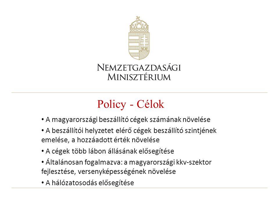 Policy - Célok A magyarországi beszállító cégek számának növelése